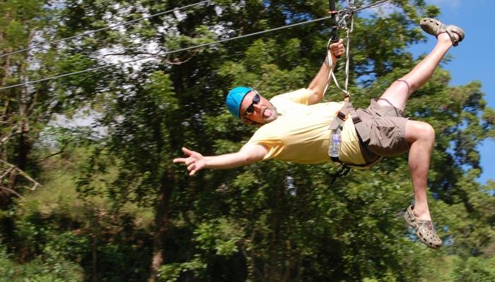 Zip-lining at Monkeyland